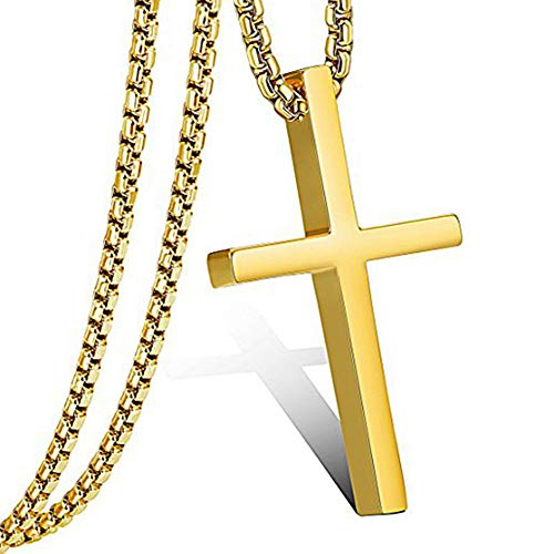 FZTN Jewelry Simple Gold Cross Pendant Necklace for Men 2mm Stainess Steel Round Box Rolo Chain 24 -