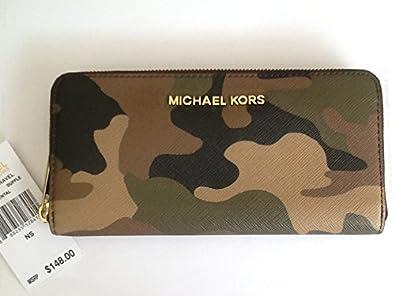 b04a6484bd3e Image Unavailable. Image not available for. Color: Michael Kors Jet Set  Saffiano Camo Continental Wallet ...