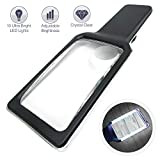 Magnifying Glass Reading Magnifier 3X Large Retangular Lens+5X Zoom with 10 Ultra Bright Dimmable LEDs (Provide Evenly Lit Viewing Area) Great for Reading Small Prints, Low Vision Seniors & Aging Eyes