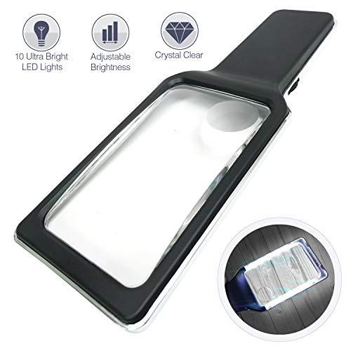 Magnifying Glass Reading Magnifier 3X Large Retangular Lens+5X Zoom with 10 Ultra Bright Dimmable LEDs (Provide Evenly Lit Viewing Area) Great for Reading Small Prints, Low Vision Seniors & Aging Eyes by MagniPros See Things Differently