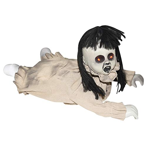 Possessed Baby Halloween Costume (Halloween Animated Crawling Possessed Baby Doll, 19 1/2)