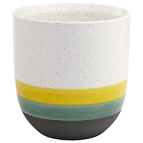 Rivet Westline Modern Indoor Outdoor Hand-Painted Stoneware Planter Flower Pot - 8 Inch, Yellow White Blue Black