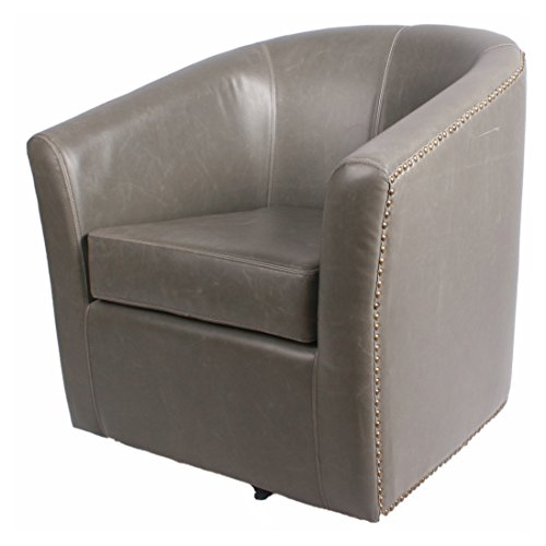 New Pacific Direct Ernest Bonded Leather Swivel Chair,Vintage Gray,Fully Assembled ()