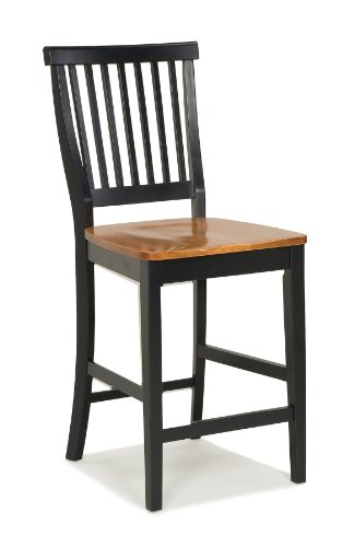 Americana Black & Distressed Oak bar Stool by Home Styles