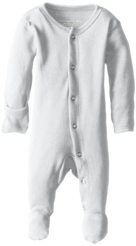 (L'ovedbaby Unisex-Baby Organic Cotton Footed Overall, White, 0/3 Months)