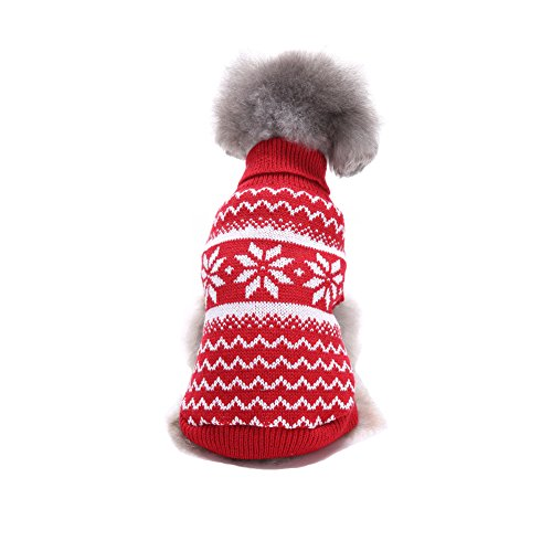 - NACOCO Dog Costume Sweater Snowflake Puppy Clothes Winter New Year Christmas for Small Dog and Cat (XS, Red)