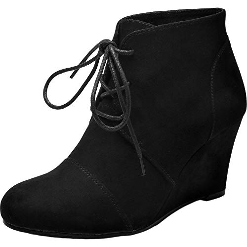 - Women's Wide Width Wedge Boots - Lace Up Low Heeled Ankle Booties w/Round Closed Toe Rubber Sole Memory Foam Insole. (180507,Black,Size10)