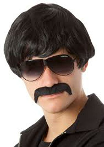 [80s Shag Wig - for Guys, Girls, Children - 2 Colors - #1 Too Cool For School Wig (Black)] (Halloween Costumes For 2 Guys)