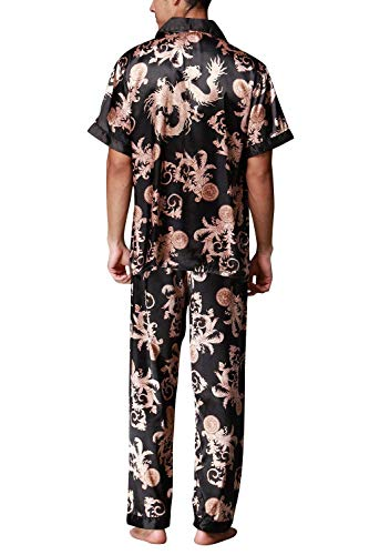 Bolawoo Mode Camisa Bolsillo Schwarz Pijama Verano Hombre De Usted Cuello Satinado Con Estampado Marca Dos Piezas Largo Retro rrwzFqp