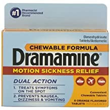 Dramamine 8-Count Orange Flavor (Pack of 3)