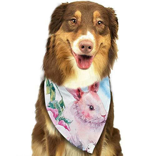 ZZJIAK Dog Bandana Scarf Watercolor Spring Happy Easter Wreath Rabbit Triangle Bibs Printing Kerchief Set Accessories Dogs Cats Pets ()