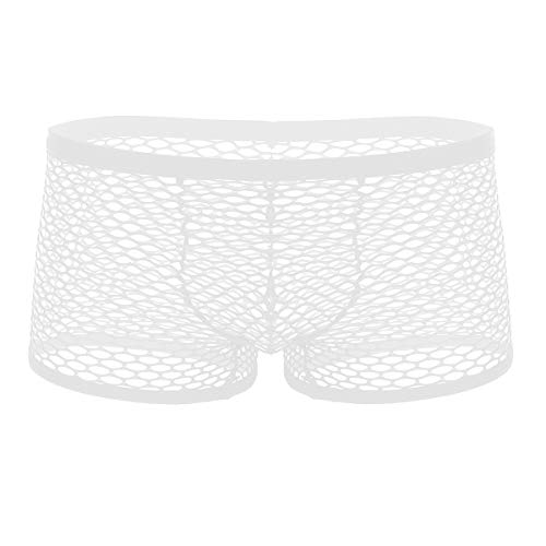 inhzoy Men's Low Rise See Through Fishnet Bikini Boxer Briefs Underwear Lingerie Booty Shorts White Medium (Waist 26.0