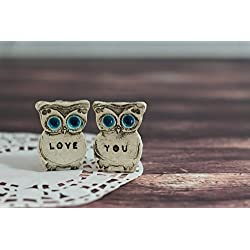 Handmade Ceramics Owls Wedding Cake Topper Set, Engraved with a LOVE YOU Text, Valentine Gift