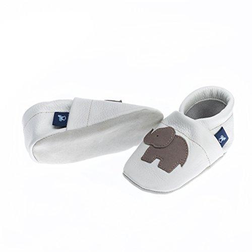pantau.eu Lederpuschen Leder Hauschuhe Puschen Pantoffeln Schluffen Patschen Schlappen mit Elefant, Größen 36-45 WEISS_GRAU