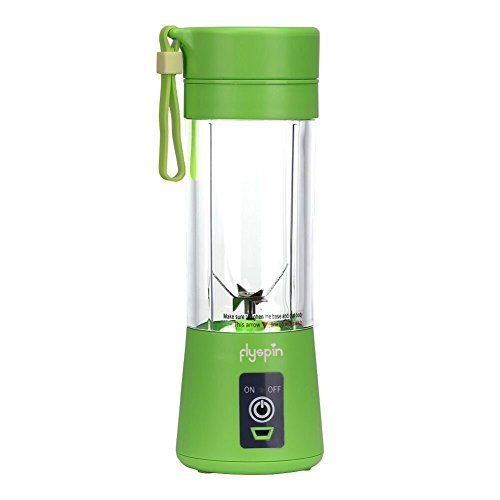 Portable USB Personal Blender Juicer Cup for Smoothies Shakes, Mini Travel Blender,Upgrade 6 Blades,Rechargeable,380ml (Green)