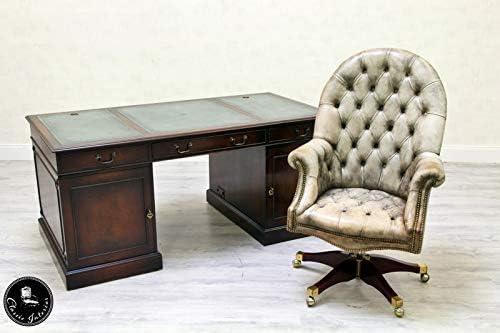 Classic Interior Chesterfield Schreibtisch Leder Antik Tisch