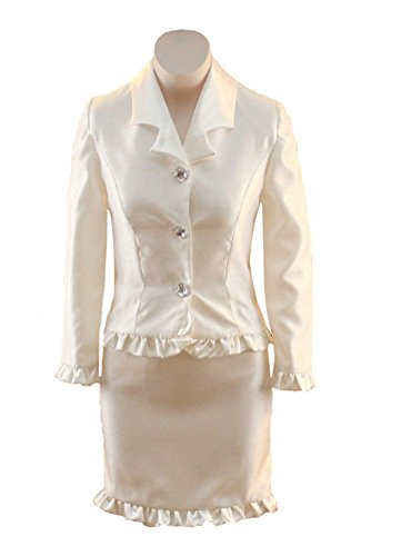 (HSDJ Girls' Outfits Ruffles Performance Sets Interview Pageant Suits 12 US Beige)