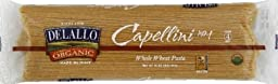 Delallo Organic Pasta Capellini Whole Wheat #1 -- 1 lb