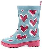 Outee Girls Kids Wellies Wellingtons Rain Boots Waterproof Rubber Boots Children Pink Heart Print Rear Puller Cute Design (Size 3)
