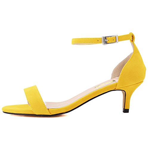 EKS Summer Shoes Woman Thin Heels Fashion Ladies Shoes Sandals Ankle Strap Metal Buckle Yellow-Suede ueB3SNbdC
