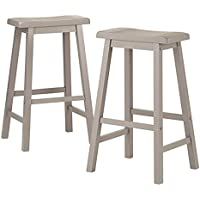 29-Inch Grey Counter Height Backless Individually Hand Distressed Made Of Solid Rubberwood Saddle Back Design Stools (Set Of 2)