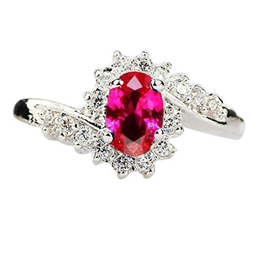 SMALLE◕‿◕ Exquisite Natural Gemstones Bride Princess Wedding Engagement Strange Ring Hot Pink