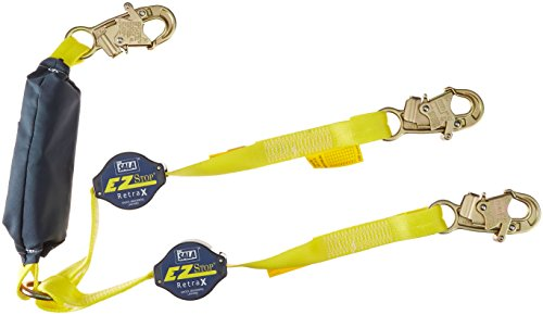 3M DBI-SALA 1241480 Shock Absorbing Lanyard with 100 Percent Tie-Off Retractable Web and Snap Hooks at Each End, 6', Navy/Yellow Retractable Web Lanyard