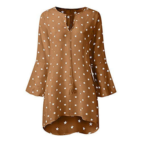 ANJUNIE European American Hot Five-Pointed Star Print Large Size Shirt Lightweight Long Tops(Yellow,L)