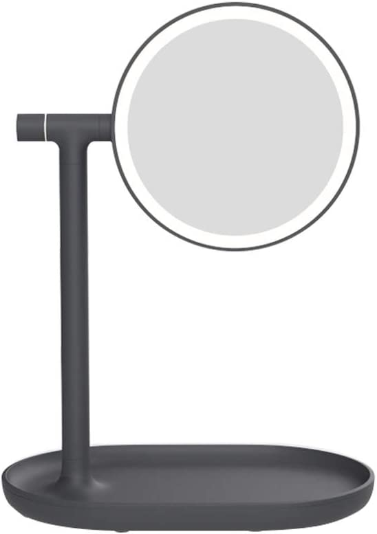 Color : Black Fill light ZHAOSHUNLI Flip Mirror with Light Double Sided HD Dressing Table Mirror Charging Portable Desktop Led Mirror