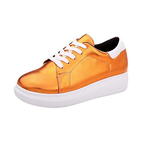 Mee Shoes Damen modern bequem populär runder toe Geschlossen Blockabsatz Durchgängiges Plateau Schnürhalbschuhe Freizeitschuhe Orange