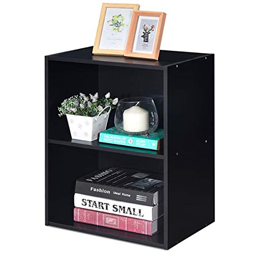 Giantex Bookshelf and Bookcase 2-Layer Storage Shelf, W Large-Capacity Open Storage Space, MDF P2 Veneer, for Living Room Bedroom Study Office Multi-Functional Furniture Display Cabinet Black, 1