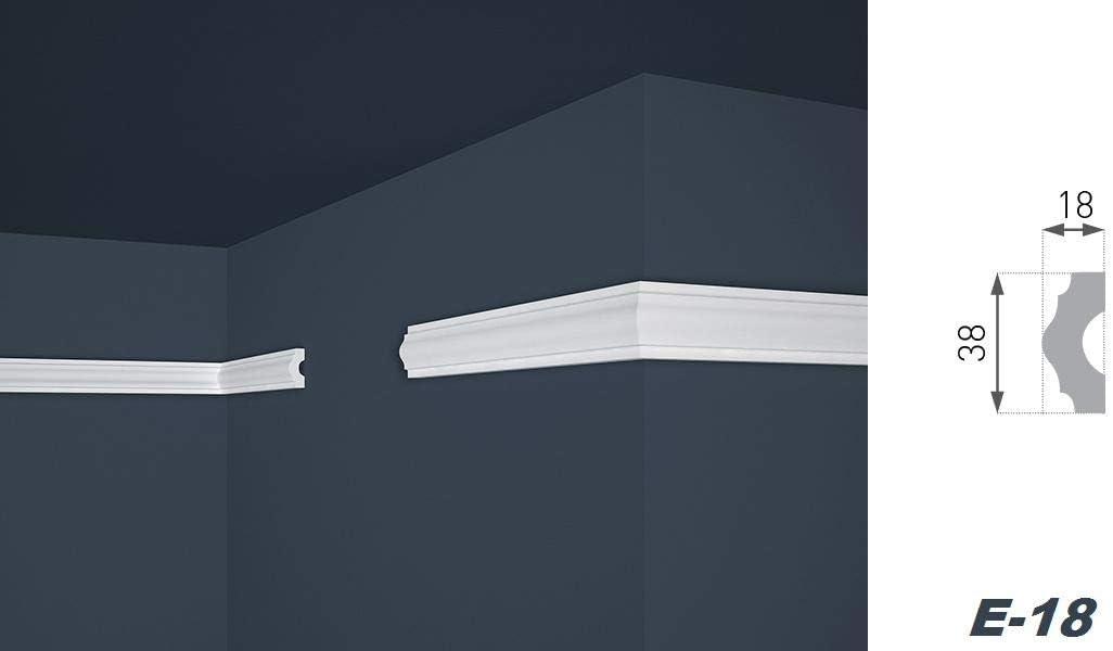 Stuckleisten aus Styropor riesige Auswahl 2 Meter 62 x 80 mm E-9 leichte und stabile Profile f/ür Decken-// und Wand/übergang modern wei/ß dekorativ XPS