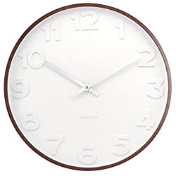 Present Time Karlsson Mr. White Numbers Wall Clock with Wooden Case, 20-Inch Diameter