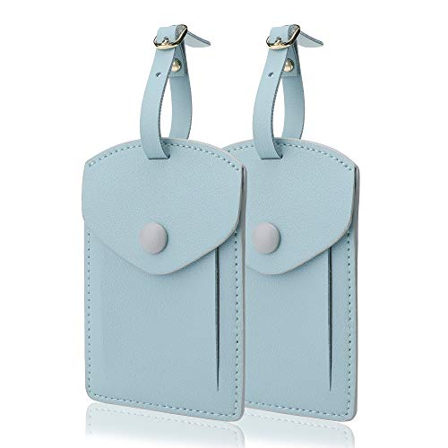 - Kevancho Leather Smart Luggage Tags for Men Women, Suitcase Labels Baggage Tote Bag Tag ID Tags with Full Back Privacy Cover for Carnival Cruise Ships, Away Travel Accessories Tags Set of 2 PCS (Blue)