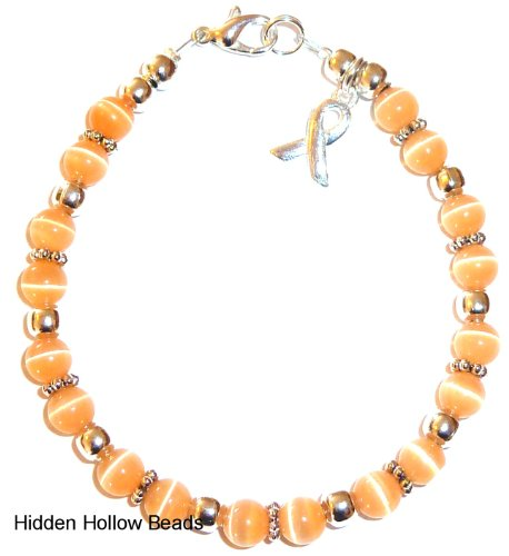 Bracelet, Uterine Cancer Awareness or Fundraising Campaign, Peach by Hidden Hollow, (7 ¾ in.), (Cancer Awareness Jewelry Bracelet)