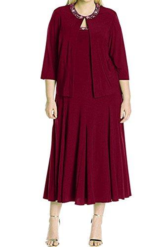 Brautmutterkleider mia Kurzes Damen Braut Weinrot Chiffon Dunkel Abendkleider Langarm La Partykleider Braun 8qfZwZd