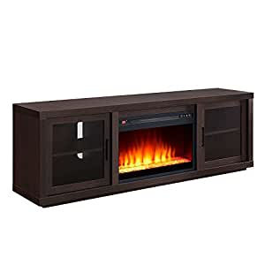 Better homes and gardens steele media fireplace console espresso finish home audio for Better homes and gardens fireplace tv stand