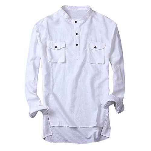 Enjoybuy Mens Linen Henley Shirts Long Sleeve Mandarin Collar Slim Fit Casual Shirts Front Pocket