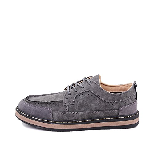 Fashion-Lover New 2018 Mens Shoes Flock Leather Men's Thick Bottom Handmade Mens Loafers Fashion Designer Casual Shoes For Man Footwear,Gray,8.5