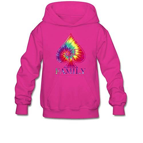 Julongcul Youth Poker Spades ACE Tie Dye Family Hoodie Sweatshirt Suitable for 10-15yr Old L Fuchsia