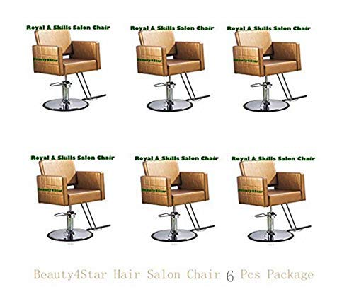 - TrumpStar Salon Chair for Hair Styling 6 PCS Package Gold Color