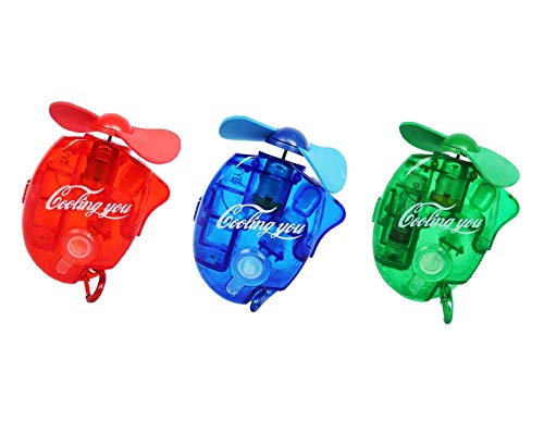 (F-tomorrow Carabiner Water Misting Fans Mini Cooling Fans with Sater for Outdoor leisureBeach On Foot BBQ and More 3PCS)