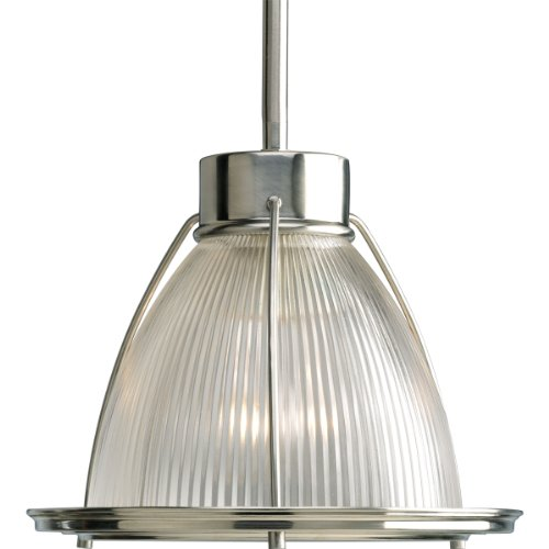 - Progress Lighting P5163-09 1-Light Stem Hung Mini-Pendant with Clear Prismatic Glass, Brushed Nickel