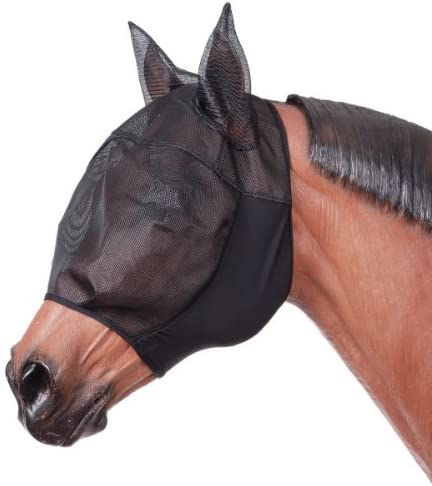 Tough-1 Black Lycra Fly Mask With Ears Nettingn Over Face Eyes and Ears Pony Horse