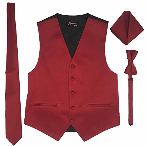 Spencer J's Men's Formal Tuxedo Suit Vest Tie Bowtie and Pocket Square 4 Peace Set Verity of Colors (XL (Coat Size 46-51), Apple Red) -