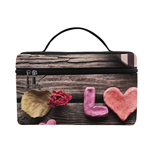 Valentines Day Gift Box Rose Petals Ribbon Pattern Lunch Box Tote Bag Lunch Holder Insulated Lunch Cooler Bag For Women/men/picnic/boating/beach/fishing/school/work