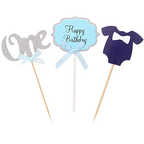 MeySimon Baby Boy 1st Birthday Cupcake Toppers Set Glitter Silver and Blue Paper Card for First BDay Party Decoration -