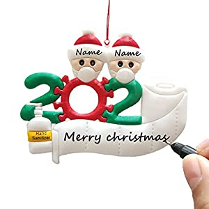 Best Epic Trends 41dCllDQ0OL._SS300_ Doicuik 2020 Christmas Ornament Personalized Quarantine Survivor Family Members with Face Mask Hand Sanitizer Toilet…