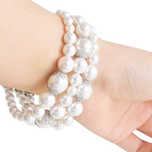 White Pearl Smartwatch Band 38mm of Series 3 2 1 / 40mm of Series 4 New Watch Elastic Bracelet Bands Shell Pearl Girls Women Fashion Jewelry Handmade Watch Replacement Wristband Wearable Technology ()