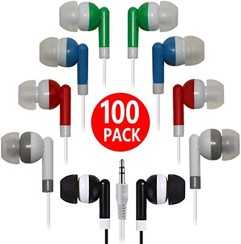 Bulk Earbuds 100 Pack Multi Colored for Classroom,HONGZAN Wholesale Earbuds Headphones Earphones for Kids,Individually Bagged,Perfect for Students,Schools,Library,Museums,Hotels,Etc